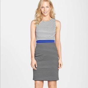 EUC Eliza J Blue White Stripe Fitted Dress Petite
